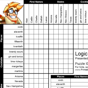 Comprehensive image with free printable logic puzzles with solutions