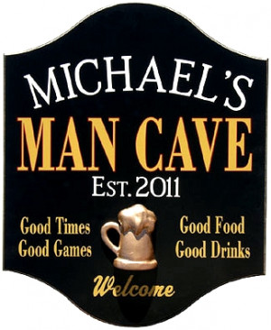Personalized Man Cave Sign with a 3D Gold Beer Mug Relief