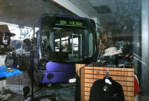 Oh Yea! Bus Crashes into a clothing store. Least the bus has a sense ...
