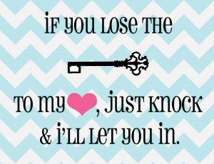 And never forget, that if you lose the key to my heart, just knock and ...