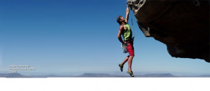 Motivational image of free climbing Facebook cover