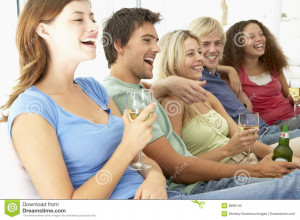 Royalty Free Stock Photo: Friends Watching Television Together