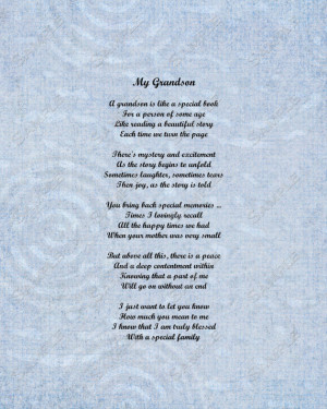 Grandson Poem Love Poem 8 X 10 Print INSTANT Download - On Sale!!