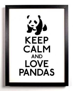 Keep Calm And Love Pandas, Art Print, 8 x 10 inches