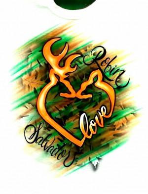 Airbrush Deer Love Heart Couple Browning Valentine shirt Camo! 2 # ...