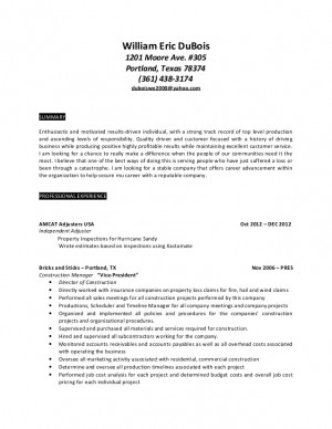 Insurance Claims Adjuster Resume Sample