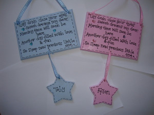 Handmade Personalised New Baby Girl Boy Poem Plaque