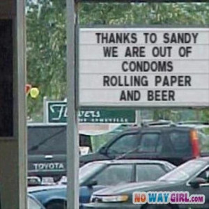 funny business signs, sandy hurricane