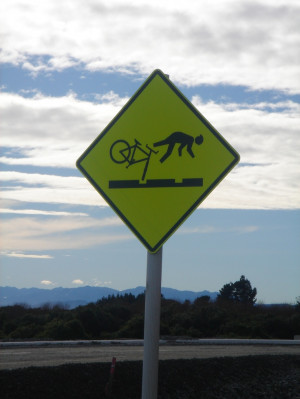 Funny bike road sign in NZ