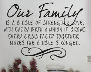 ... Family is a circle of strength and love decal quotes words , sayings