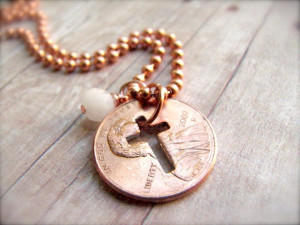 Stamped Penny from Heaven Necklace - The Cross
