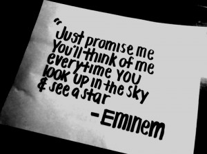 eminem, lyrics, music, quote, sky, star, think of me, when i'm gone ...