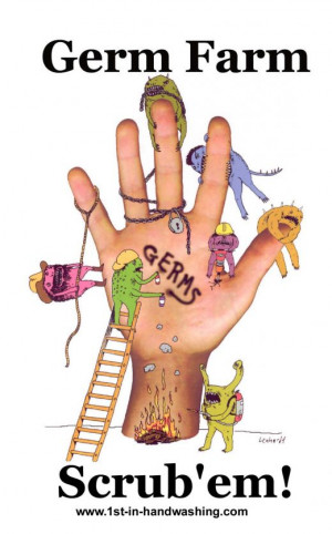 Poster Germ Farm on Human Hand with Colorful Germs and the Word Germs ...