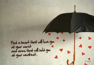 heart, love, quote, umbrella