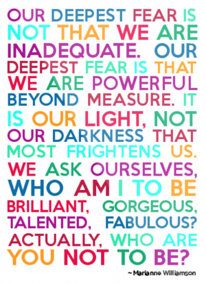Marianne Williamson Quote Our Deepest Fear Meaning Famous marianne ...