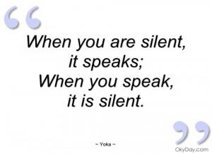 imagem when you are silent yoka