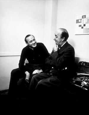 Ed Wynn and Jack Benny backstage, 1959.
