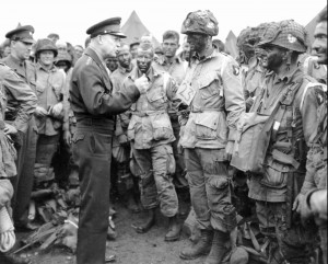 Gen. Dwight D. Eisenhower visits paratroopers on June 5, 1944, moments ...