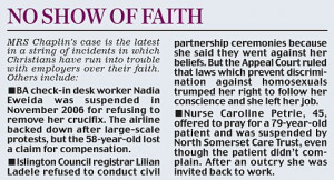 ... of Christians as they back nurse barred from work for wearing a cross