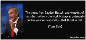 The threat from Saddam Hussein and weapons of mass destruction ...
