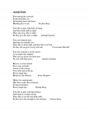 Acrostic Poetry...