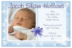 10 Personalised Baby Boy Birth Announcement PHOTO Cards N75