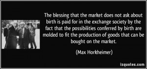 The blessing that the market does not ask about birth is paid for in ...