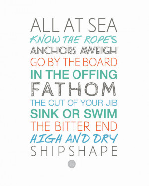 Nautical Sayings 11x14 Sailing - Boating - Ocean - Sea - Typography ...