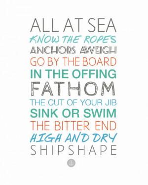 Nautical Sayings 11x14 Sailing - Boating - Ocean - Sea - Typography ...