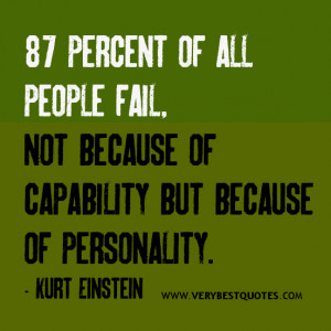 Failure quotes, 87 percent of all people fail, not because of ...