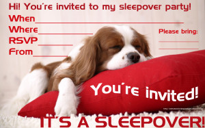 SLEEPY PUPPY SLEEPOVER INVITATION FOR BOYS AND GIRLS