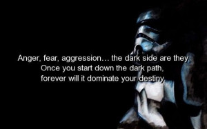 Movie, star wars, quotes, sayings, anger, fear, aggression, destiny