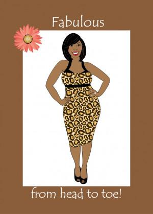 Birthday Card for Women. Beautiful curvy black (African American ...