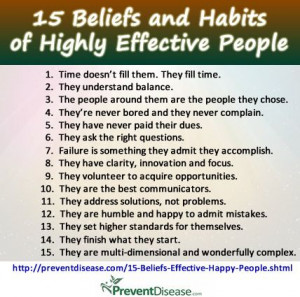 15 Beliefs and Habits of Highly Effective and Happy People