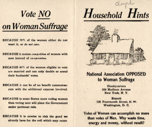 ... distributed by the National Association Opposed to Woman Suffrage