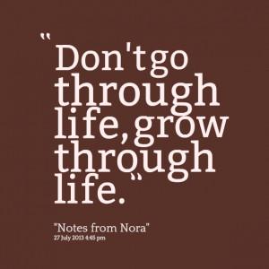Quotes Picture: don't go through life, grow through life