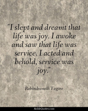 Rabindranath Tagore Quote Last night the word JOY kept coming into my ...