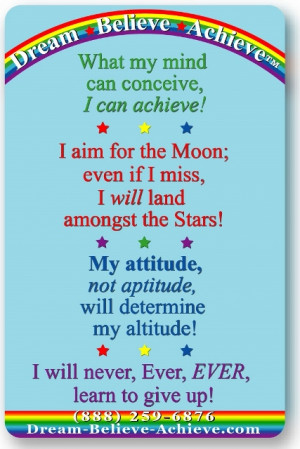 dream-believe-achieve motivational card of quotes