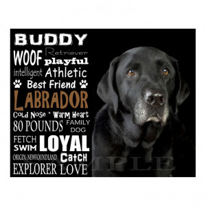 Black Labrador Retriever - Personalized 8x10 Unframed Dog Typography ...