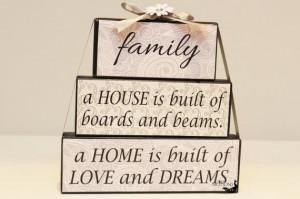 Inspirational Family Quote Wood Blocks, Custom Wooden Mantle Decor ...