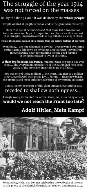 Adolf Hitler quote from Mein Kampf about the outbreak of the war