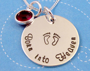 Miscarriage Necklace, Mothers Neckl ace, Born into Heaven, Loss ...