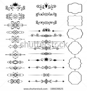 Floral design elements set, ornamental vintage frames with crowns in ...