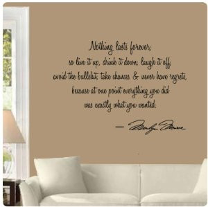Nothing lasts forever by Marilyn Monroe Wall Decal Sticker Art Mural ...