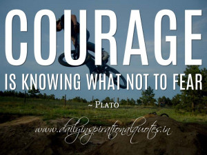 Courage is knowing what not to fear. ~ Plato ( Motivational Quotes )
