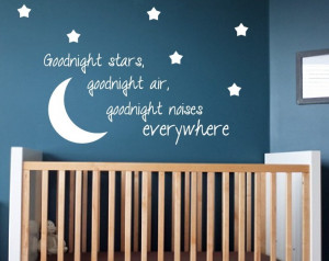 Kids Room Wall Decal Goodnight Moon Quote Nursery Decor Home Decor. $ ...