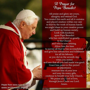 Prayer for Pope Benedict XVI