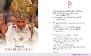 prayer for the retired Catholic Pope Benedict XVI.