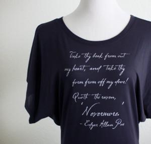 The Raven Nevermore Quote Shirt- Edgar Allan Poe- Women's Literary ...