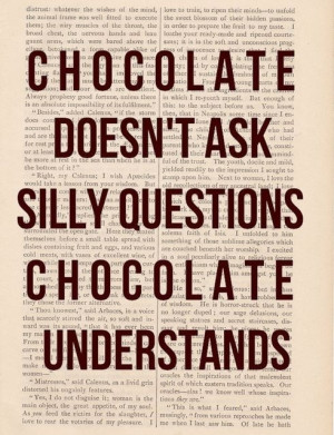 Chocolate Doesn't Ask Silly Questions Chocolate Understands